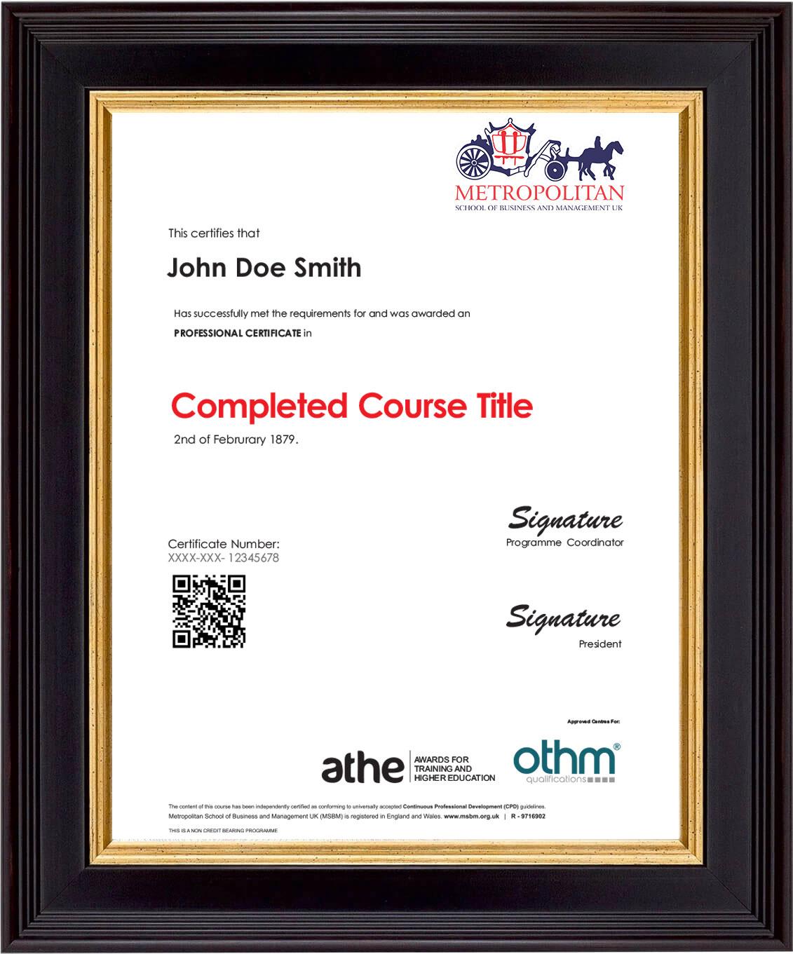 Professional Course Sample Certificate