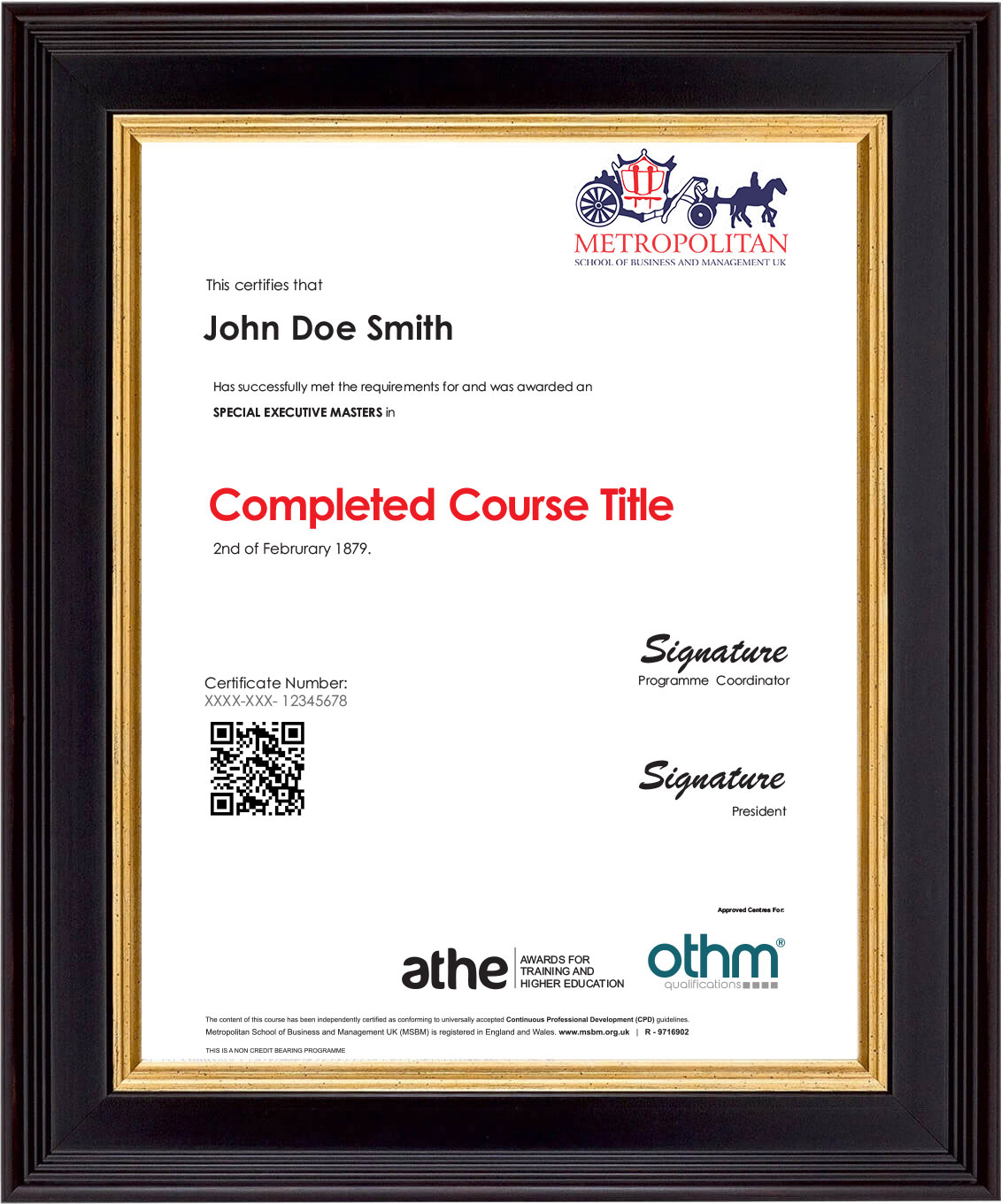Executive Masters Sample Certificate